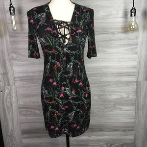 Topshop Lace Up V neck Mini Dress Size 2